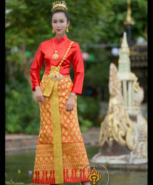 Wholesale top traditional dress resale online - Thailand Traditional Clothing for Women Wedding Engagement Dress Stand Collar Long Sleeve Red Tops Waistband Thai Clothes