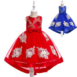 tulle embroidery dress UK - High Low Flower Girl Dress Embroidery Trailing Lace Formal Birthday Party Gowns Children Kids Clothes