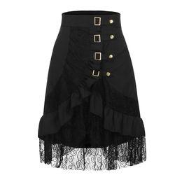 8e3b3ee341391 Women's Steampunk Clothing Party Club Wear Punk Gothic Retro Black Lace  Skirt Ladies lace punk rock skirt#e4