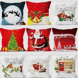 merry christmas bedding Canada - Santa Claus Cushion Cover Printing Dyeing Sofa Bed Home Decor Pillow Case Merry Christmas Festival Pillow Cover