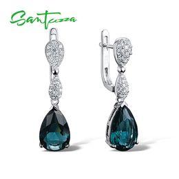 $enCountryForm.capitalKeyWord Australia - Silver Drop Earrings For Women Pear Blue Stone And White Cubic Zirconial Women Earrings Pure 925 Sterling Silver Fashion Jewelry Y19062703