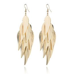 $enCountryForm.capitalKeyWord UK - Real Shooting Bohemia Metal Leaves Tassel Long Earring For Girls Fashion Plated Gold Drop Earrings Women Gift E745