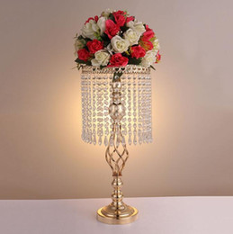 $enCountryForm.capitalKeyWord Australia - 70cm Rhinestone gold metel Wedding Party Elegant Candle Holder Pretty Table Centerpiece Vase Stand Crystal Candlestick Wedding Decoration