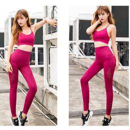 seamless slimming suit 2019 - 2019 Women Yoga Suit Seamless Hollow Slim Fitness pants Sport Wear Running Gym Leggings+Sports bra 2Pcs set Sportswear Y