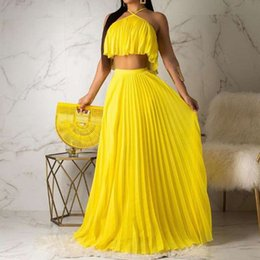 $enCountryForm.capitalKeyWord Australia - Summer Boho Sexy Club Travel Beach Women Two Piece Set Outfits Casual T-Shirts Long Skirt Pleated Backless Ladies African Suits