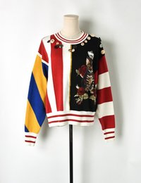 $enCountryForm.capitalKeyWord Australia - Summer new women sweater Crown applique cat flower button gold thread decorative sweater Contrast stripes pullover knitted sweaters