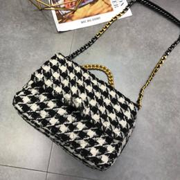 Wholesale crocheted wallet resale online - Shoulder Bags Crochet Women Vintage Chains Handbag Hasp Letter Purse Genuine Leather Wallets