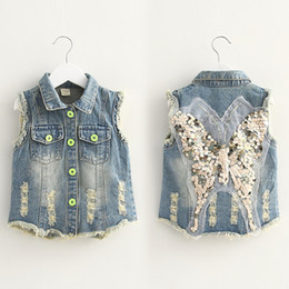 $enCountryForm.capitalKeyWord Australia - 2018 Spring Autumn 3-10 Years Old Teenager Children Birthday Gift Glitter Decoration Kids Baby Girl Denim Blue Vest Waistcoats