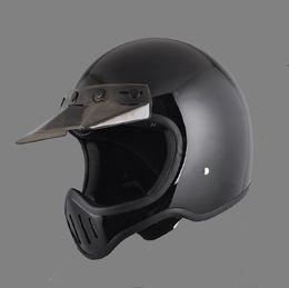 Motor Bicycles Australia - DOT motorcycle full face helmet vintage with visor for dirt dirt cross biker safe protective motor cross six color bike bicycle helmet