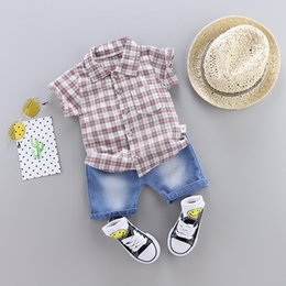 $enCountryForm.capitalKeyWord NZ - Fashion Kids Summer Denim suits 1-5T Baby Boys& Girls Plaid Shirt Clothing Children Shirts+ Short Jeans=2PCS Set