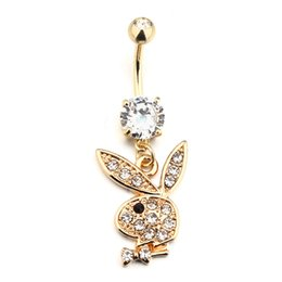 $enCountryForm.capitalKeyWord UK - New Style Cute Rabbit Navel Bell Button Rings 316L Surgical Steel Piercing Belly Button Rings Navel Piercing Sex Body Jewelry