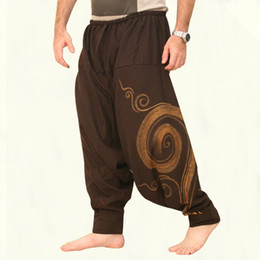 Men linen cotton trousers online shopping - New Hip Hop Aladdin Hmong Baggy Cotton Linen Harem Pants Men Women Plus Size Wide Leg Trousers New Casual Pants Cross pants Hot Sale