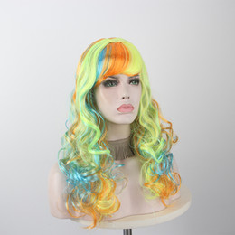 high temperature silk wig Canada - Anxin Women Colorful Colorful Big Wave Long Curly Hair High Temperature Silk Synthetic Wig Anime Cosplay Party Matching Wig