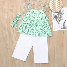 d92e4354a48d new born baby girl clothes SUMMER Infant Baby Girls Kids Floral Ruffle Tops  T Shirt+Pants+Headband Outfits Set robe fille