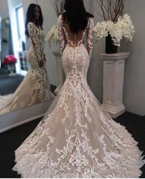 $enCountryForm.capitalKeyWord Australia - 2019 Vintage Full Lace Mermaid Wedding Dresses Bridal Gowns Illusion Long Sleeves With Buttons Vestidos Custom Made Women Formal Wear
