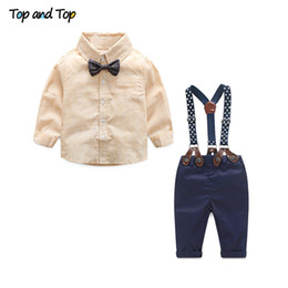 $enCountryForm.capitalKeyWord Australia - Top And Top Formal Baby Boy Clothing Set Autumn Stripe Long Sleeve Bow Tie T-shirt+suspenders Pants Cotton Baby Clothes J190705
