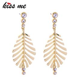 $enCountryForm.capitalKeyWord Australia - Gold Color Alloy Rhinestone Hollowed Leaf Big Dangle Earrings Women Accessories Jewelry