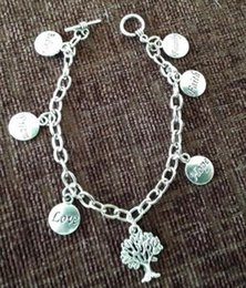 Anklet Silver Chains Australia - Vintage Silver Tree of Life Dream Hope Love Faith Bracelet Chain Charms Cuff Bracelets Anklets Jewelry Women Girl Romantic Valentine's Gift