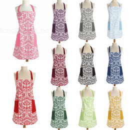 Wholesale aprons dresses for sale - Group buy 11styles Retro Aprons printed floral Home Cooking Kitchen BBQ Dinner Party baking Front Pocket home Adult Women Aprons dress FFA2827
