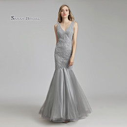 Wedding Beaded Prom Graduation Dresses Australia - Gray Crystal Mermaid Beaded Prom Party Dress 2019 Sexy Elegant Beading Vestidos De Festa Evening Wear Formal Occasion Gown LX488