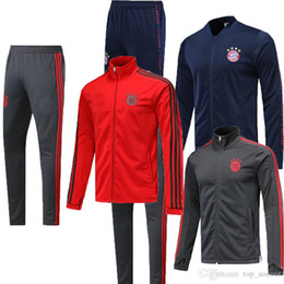 men football tracksuit Australia - Bayern Jacket Suit Long Sleeve High Collar Soccer Kit With Zipper 19 20 Red Grey blueTraining suit Tracksuit Football Suits Jacket+Pants