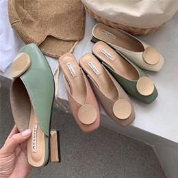 $enCountryForm.capitalKeyWord Australia - Crystal2019 Shoe Suit-dress Season Baotou Half Slipper Joker Dawdler Woman Low Help Sandals Women's Shoes Tide