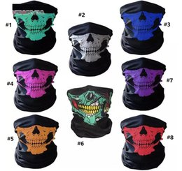 Bicycle Black Ghost Australia - New Unisex Halloween Cosplay Bicycle Ski Skull Half Face Mask Ghost Scarf Bandana Neck Warmer Party Headband Magic Turban Multicolor Design
