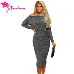 2c4086278fa Dear Lover Sexy Club Dresses for Women Spring Grey Slash Neck Long Sleeve  Ruched Midi Dress Bodycon Vestidos