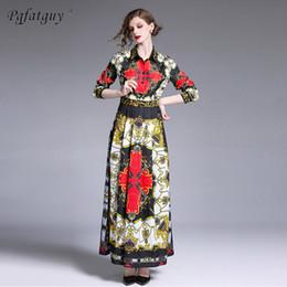 Shirt Collar Hit Australia - New 2019 Designer Runway Long Sleeve Big Swing Dress Women's Shirt Collar Hit Color Floral Print Vintage Long Pleated Dresses