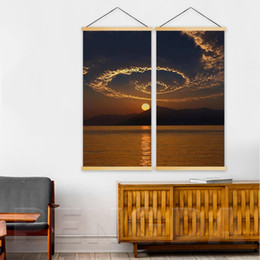 $enCountryForm.capitalKeyWord Australia - Canvas Print Modern Home Decoration 2 Piece Sunset Landscape Picture Solid Wood Hanging Scroll Painting Wall Art For Living Room