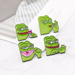 China Smiling Sad Frog Woman Men's Brooch Lapel Button Icon with Sad Dad Frog Pin Brooch Badge Backpack Bag Hat Accessories supplier wholesale anchor lapel pins suppliers