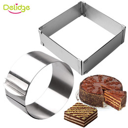 cake ring set Australia - Delidge 2pcs set Stainless Steel Adjustable Cake Mousse Ring 3D Round & Square Cake Mold Decorating Baking Tools