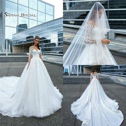 Monarch wedding dresses online shopping - 2019 Long A Line Beach Wedding Dresses Long Sleeves Lace Appliques Sweep Train Boho Bridal Button Back Wedding Dress