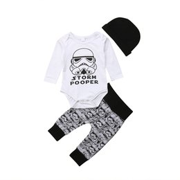 jacket star boy Canada - New Tollder Kid Baby Clothing Newborn Boys Star Wars Stormtrooper Tops Romper Pants Hat Outfits Set 0-18M Casual wild lovely