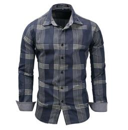 $enCountryForm.capitalKeyWord Canada - New Designer Shirts for Men Lapel Long Sleeve Plaid Printing Single-breasted Tee Mens Designer Shirts in Denim Blue