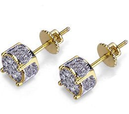 $enCountryForm.capitalKeyWord Australia - MENS 18K YELLOW GOLD FILLED LAB DIAMOND SCREW BACK HIP HOP STUD EARRINGS