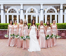 $enCountryForm.capitalKeyWord Australia - 2019 Rose gold Sequined Summer Boho Wedding Party Gowns Cheap Bridesmaid Dresses Garden Mermaid Sweetheart Zipper Back Maid of Honor Gown