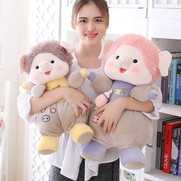 Cute Stuffed Animal Pig Australia - New Super Cute Piggy Plush Toy Soft Cartoon Animal Pig Stuffed Doll Festival Best Gifts Baby Accompany Toys Girlfriends Presents