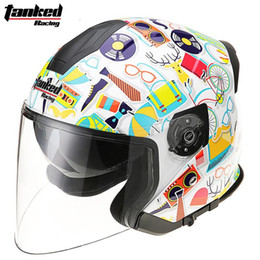 Half Helmets Lenses Australia - Half face motorcycle helmet Tanked Racing T597 scooter electric motorbike moto motocross helmets safety cap with Dual Lens