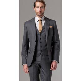 Discount grey tailcoat suit - Three Piece Dark Grey Evening Party Men Suits Notch Lapel Trim Fit Custom Made Wedding Tuxedos (Jacket + Pants + Vest+Ti