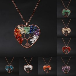 Wire Wrapping pendants online shopping - Natural Healing Crystals Necklace Bronze Tree of Life Wire Wrapped Stone Heart Necklaces Pendant Reiki Quartz Jewelry For Womens Girls M598Y