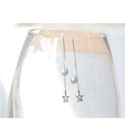 Threaded Pearls Australia - Japanese and Korean style, temperament, personality, long S925 pure silver ear needle, pearl fringed pentagonal Star Earrings and ear thread