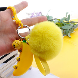 Banana Pendant Australia - Vibrating sound with the decompression artifact banana key ring pendant net red vent squeezing toy expression doll pendant H50
