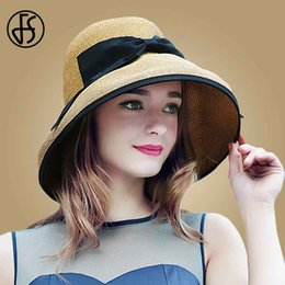 af6e6d5d7c3 wholesale Fashion Straw Hats For Women Summer Beach Foldable Large Wide Brim  Floppy Hat Ladies Sun Visor Caps Bowknot Sombreros Mujer