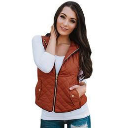 Wholesale sleeveless zip vest resale online - Winter Jacket Coat Women Quilted Jacket Waistcoat Vest Stand Collar Zip Up Pocket Gilet Sleeveless Casual Overcoat Outwear