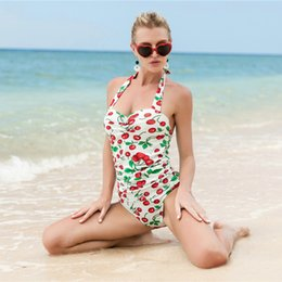 a455a25611 2019 new European and American style bathing suit for women cherry printing plus  size women s one-piece swimsuit gathered swimsuit wholesale