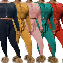 venda por atacado Mulheres Crop Tops + Leggings 2 Piece Set Tracksuit Hoodies camisetas Sashes Outfits Color Solid Sportswear Queda Casual Roupas Casuais Jogging Terno 1507