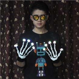 flash dancing Australia - Manufacturer direct selling led night riding luminous gloves skull printing drag dance stage performance hand flash cover spot