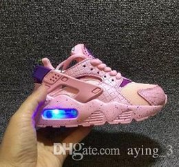 kids flash shoes Canada - 55 Flash Light Air Huarache Kids 2018 New Running Shoes Infant Run Children sports shoe outdoor luxry Tennis huaraches Trainers Kid Sneakers