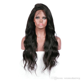 dark burgundy lace front wigs UK - Top Quality Fashion Women Black Body Wave Long Wigs with Natural Baby Hair Heat Resistant Glueless Synthetic Lace Front Wigs for Black Women